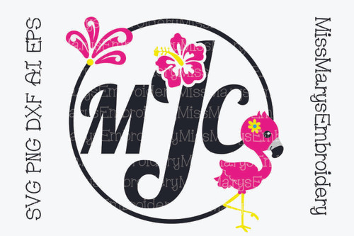 Deco Flamingo Monogram Frame SVG