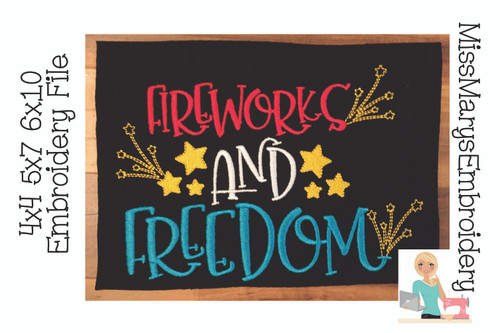 Fireworks and Freedom Embroidery