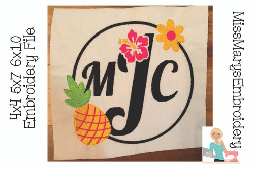 Pineapple Monogram Embroidery