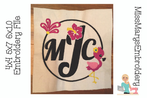 Deco Flamingo Monogram Embroidery