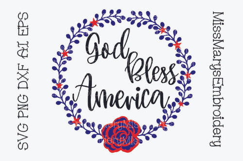 God Bless America Wreath SVG