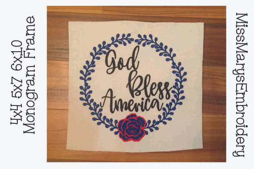 God Bless America Wreath Embroidery