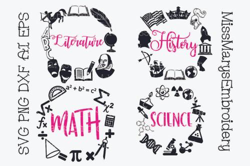 Four School Subject Frame