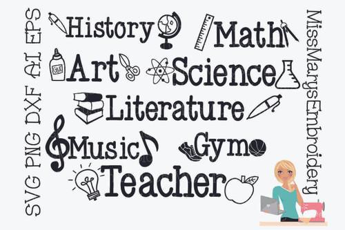 Eight School Subject Titles