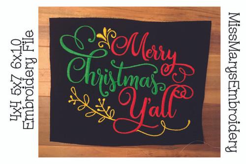 Merry Christmas Ya'll Embroidery 2