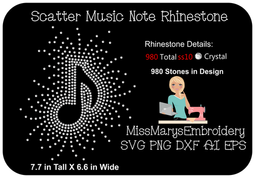 Scattered Rhinestone Music Note