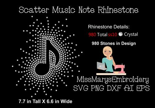 Scattered Rhinestone Music Note