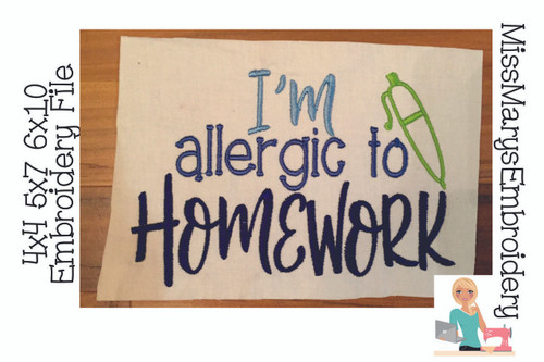 Allergic To Homework Embroidery