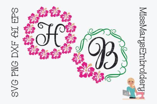 Hibiscus Monogram Frames
