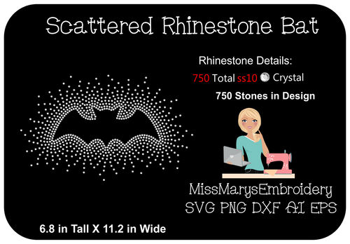 Scattered Rhinestone Bat