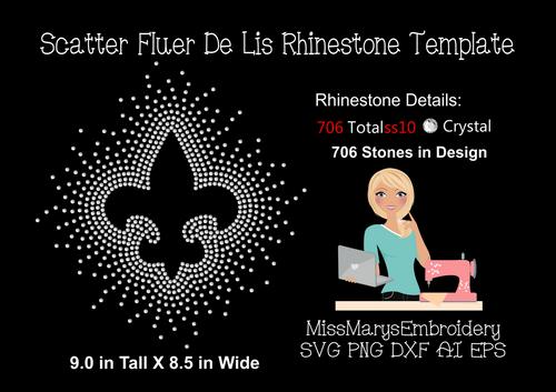 Scattered Rhinestone Fleur De Lis