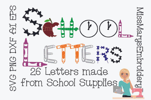 School Supply Letters SVG