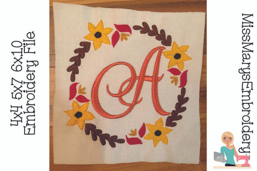 Fall Monogram Embroidery Frame