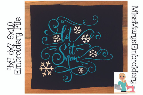 Let It Snow Embroidery 2