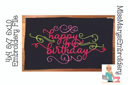Happy Birthday Embroidery