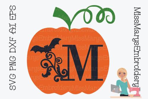 Bat Swirl Pumpkin Letters