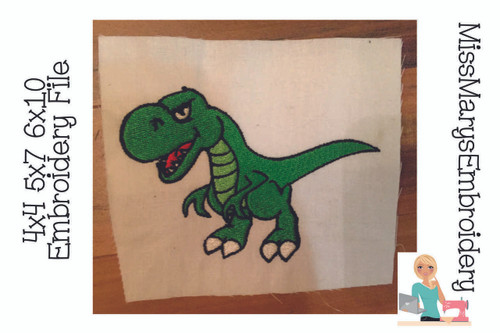 Angry T-Rex Embroidery