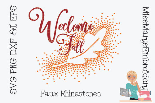 Faux Rhinestone Welcome Fall