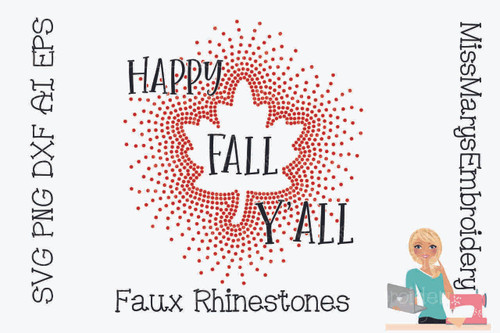 Faux Rhinestone Happy Fall Y'all
