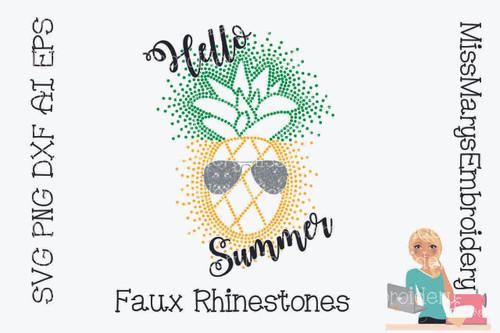 Faux Rhinestone Summer Pineapple