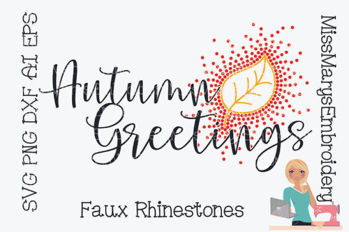 Faux Rhinestone Autumn Greetings