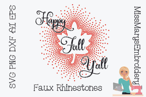 Faux Rhinestone Happy Fall Y'all Script