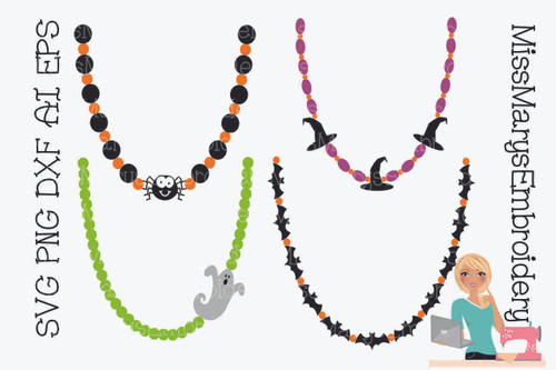 Four Halloween Necklaces SVG