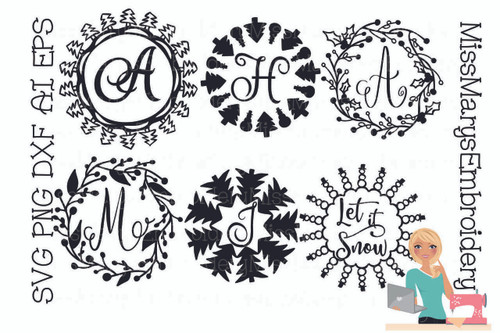 Six Christmas Monogram Rings
