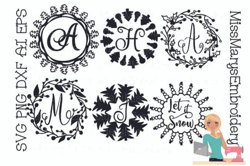 Six Christmas Monogram Rings