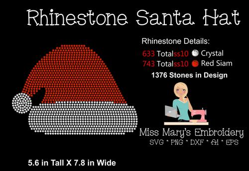 Rhinestone Santa Hat