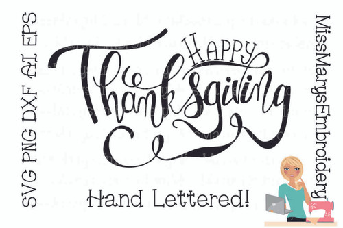 Happy Thanksgiving Hand Lettered SVG