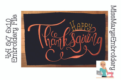 Happy Thanksgiving Embroidery