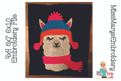 Winter Llama Embroidery