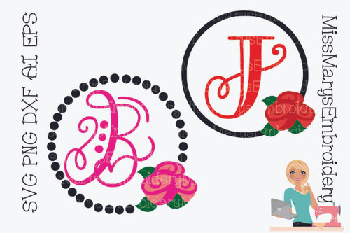 Rose Monogram Frame Set