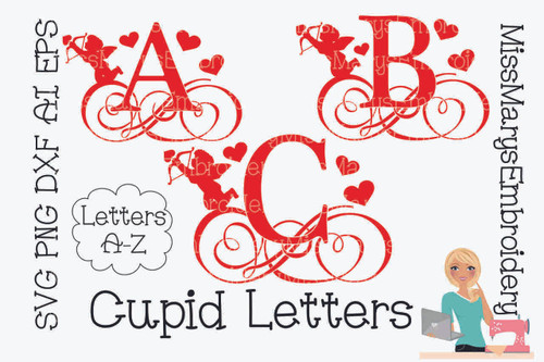 Swirl Cupid Letters SVG