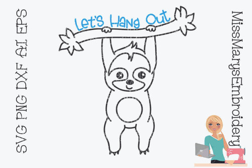 Let's Hang Out Sloth Outline SVG