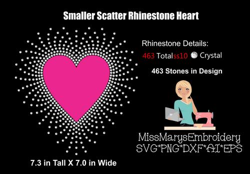 Smaller Scatter Heart Vinyl & Rhinestone