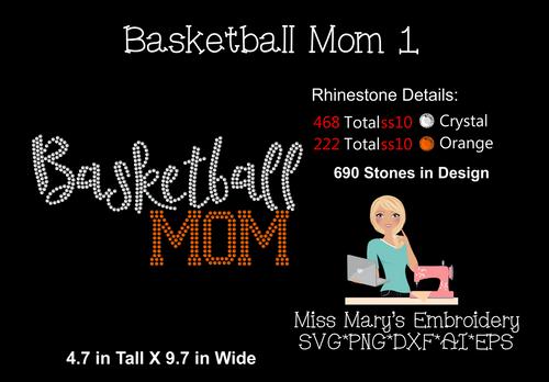 Rhinestone Basketball Mom 1