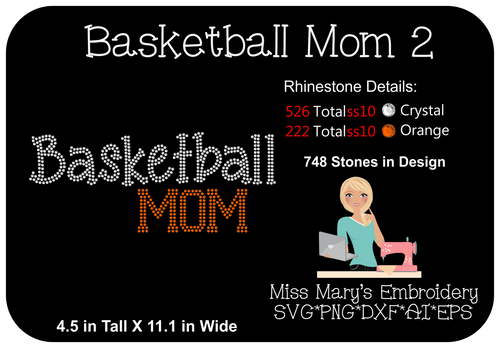 Rhinestone Basketball Mom 2