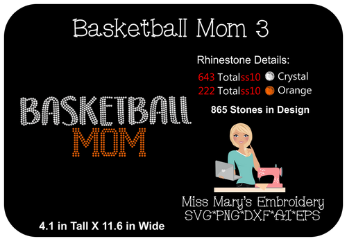 Rhinestone Basketball Mom 3