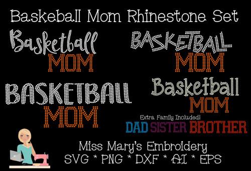 Rhinestone Basketball Mom Set