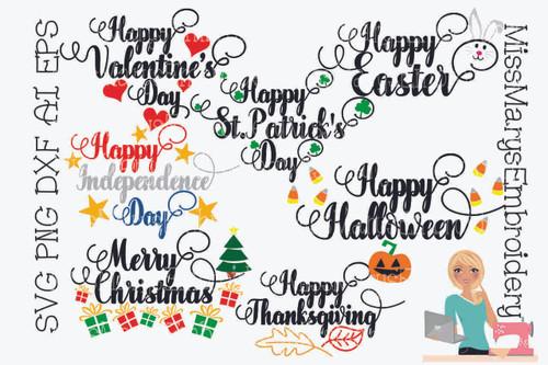 Happy Holiday SVG Bundle