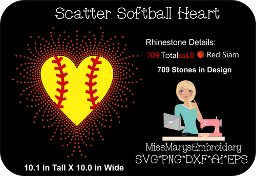 Scatter Rhinestone Softball Heart