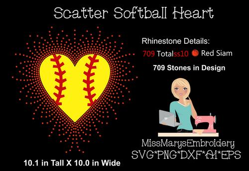 Scatter Rhinestone Softball Heart