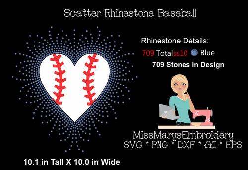 Scatter Rhinestone Baseball Heart