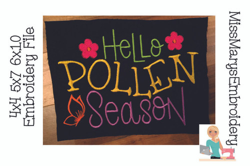 Hello Pollen Season Embroidery