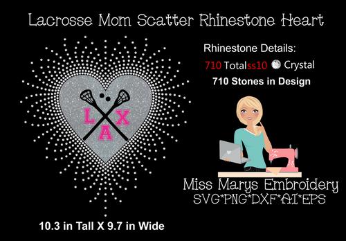 Scatter Rhinestone Lacrosse Heart