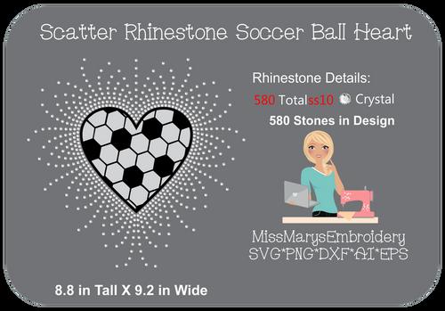 Scatter Rhinestone Soccer Heart