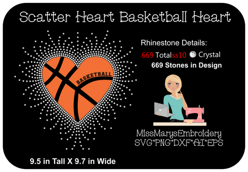 Scatter Rhinestone Basketball Heart