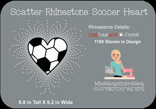 Scatter Rhinestone Soccer Heart 2
